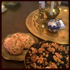 Bowl of Nuts and Qorabiye (A sweet made of almonds and pistachios. similar to Russian macaroons, from Tabriz, the North West Region of Iran)